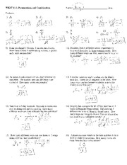 math worksheet : 1 s s worksheet by kuta software llc 15 9 x 2 3 x 16 6 17 10 k 4 k  : Combinations Worksheet