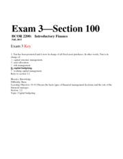 Exam 3 Fall 2013 KEY