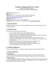 Principles of Biology Lab (Syllabus) Spring 2015