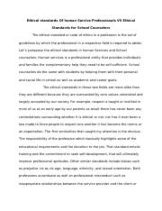 Ethical standards Of human Service Professionals VS Ethical Standards for School Counselors.docx