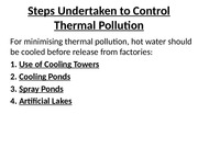 Ammended Control measures for Thermal Pollution