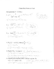 AP Calculus Chain Rule Notes to Flash