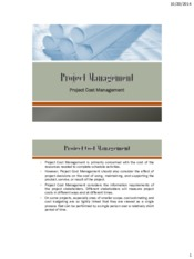Lecture 6 Project Cost Management for Project Management for Chemical Engineering