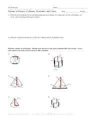 Volume of Prisms and Cylinders - Challenge - Kuta Software ...