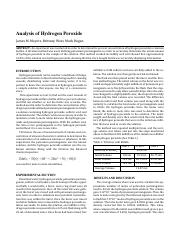 Analysis of Hydrogen Peroxide