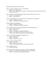 BENG166A_Lecture 1-9 General Book Reading Guide for Lecture Topics