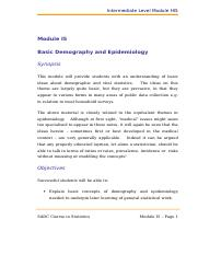 Intermediate Level Module I5 - Demography&Epidemiology.doc