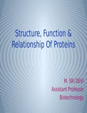 STRUCTURE, FUNCTION & RELATIONSHIP OF PROTEINS.pptx