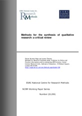 NR505-Method for Synthesis of qualitative research - Critical Review