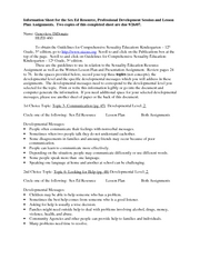 Information Sheet for the Sex Ed Resource