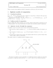 Algebra and Strategic Computation lect22