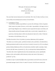 Philosophy 105 Moral Codes paper