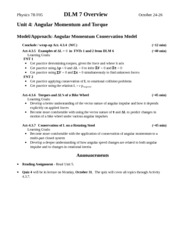 Angular Momentum and Torque Lecture Notes
