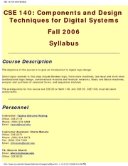 CSE 140 Fall 2006 Syllabus
