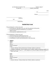 Week 7-CA Parenting Plan