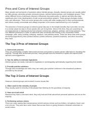 POL 201 - Week 4 - Pros and Cons of Interest Groups.docx