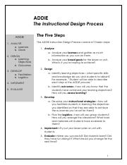 Addie Pdf Addie The Instructional Design Process Addie 1 Analyze A Learners B Goals 2 Design A Learning Objectives B Outcomes 3 Develop A Facilitation Course Hero