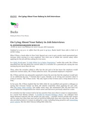 Management 448_Barry_Lecture Notes on Lying About Your Salary in Job Interviews