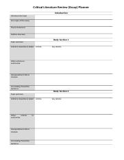 Critical Literature Review Planner