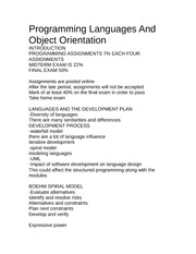Programming Languages Lecture Note COSC 2P90