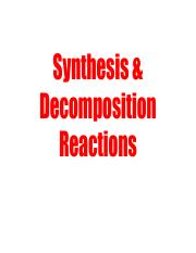 20 - Synthesis & Decomposition Reactions
