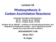 BCH110B-W14 Ziegler Lec16 Photosynthesis2-CarbonAssimilation-revised