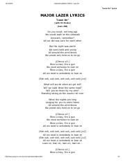 MAJOR LAZER LYRICS - Lean On.pdf