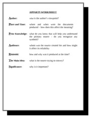 3 Pages APPARTS WORKSHEET 2  Filled With Blanks