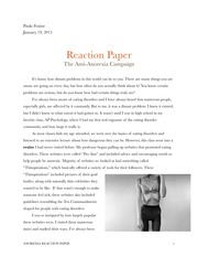 Anorexia Reaction Paper