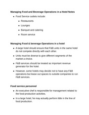 Managing Food and Beverage Operations in a Hotel Notes