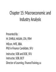 Chapter 15-Macro and Industry Analysis ppt - Chapter 15