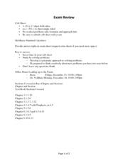 L30 - 31 - Final Exam Review and Sample Problems and Solutions