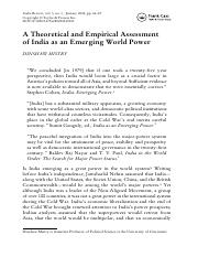 A Theoretical and Empirical Assessment of India as an Emerging World Power