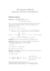Lecture Notes on Theorems and Definitions of Analysis 2