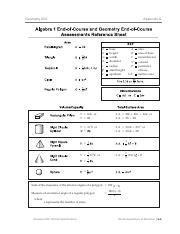 Algebra and Geometry EOC Reference Sheet - Algebra 1 End-of