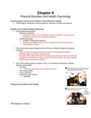 Chapter 9 (Physical Disorders & Health Psychology)