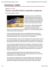 Detailed 'Austerity Measures'