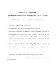 Homework 2 Solution on Heckscher-Ohlin and Specific Factors Model