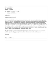 water usage letter of intent