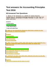 Test answers for Accounting Principles Test 2016
