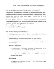 Lecture 7 Notes The Determinants of Educational Choice (Part 2)