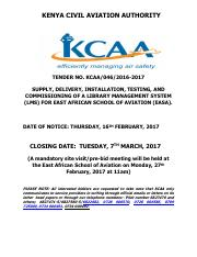 KCAA-046-2016-2017 -SUPPLY, INSTALLATION & COMMISSIONING LIBRARY MANAGEMENT SYSTEM AT EASA - CLOSING
