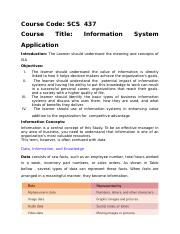 INFORMATION SYSTEMS APPLICTION