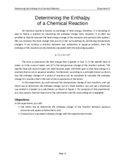 Experiment 07 Determining the Enthalpy of a Chemical Reaction