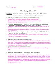 Beowulf Worksheet 2 - Name Joy Fan Date The Coming of Beowulf ...