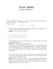 CIS 121 Fall 2011 - Midterm 2 Review Solutions