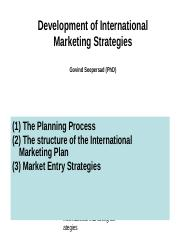 Development of International Marketing Strategies 2007