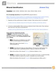 Mineral Identification.pdf - Mineral Identification Answer ...