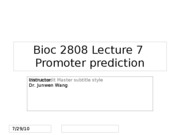 lect 07 promoter prediction