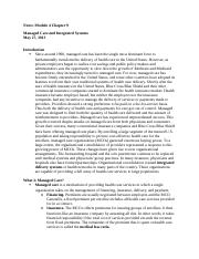 Notes Module 4 Essentials of the U.S. Health Care  System Chapter 9.docx